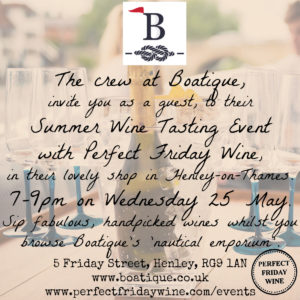 Boatique Wine Tasting Henley